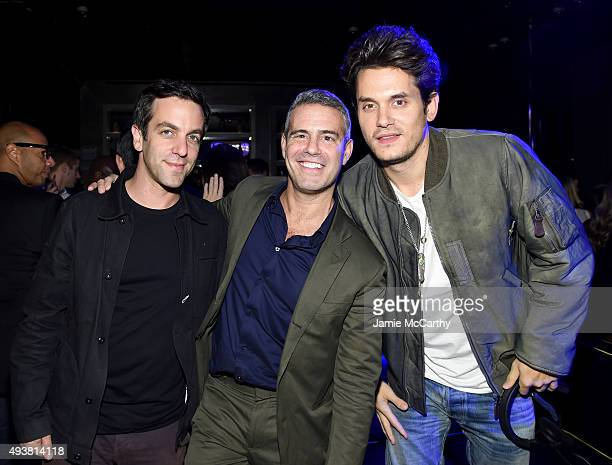 Actor B J Novak Andy Cohen and musician John Mayer attend Andy Cohen SiriusXM celebrate the launch of Cohen's New Exclusive SiriusXM Channel Radio...