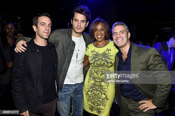 Actor B J Novak musician John Mayer Gayle King and Andy Cohen attend Andy Cohen SiriusXM celebrate the launch of Cohen's New Exclusive SiriusXM...