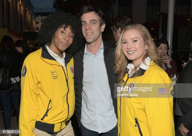 Actor B J Novak with City Year AmeriCorps members at City Year Los Angeles Spring Break on May 6 2017 in Los Angeles California