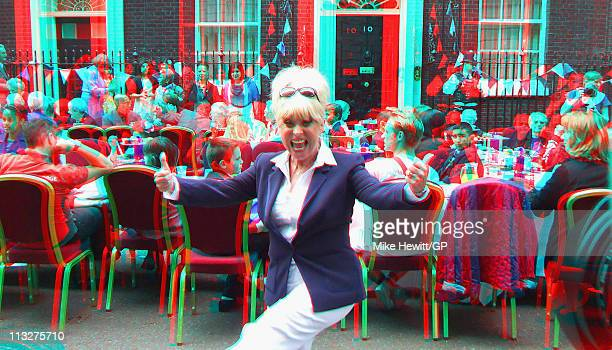 Actor Barbara Windsor enjoys herself at a Downing Street street party following the Royal Wedding of Prince William to Catherine Middleton on April...