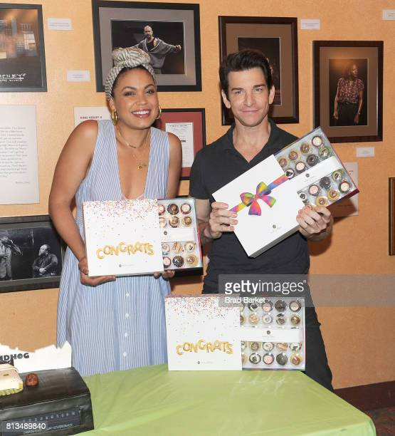 Actor Barrett Doss and Andy Karl attend Groundhog Day celebrates 100th performance on Broadway at August Wilson Theatre on July 12 2017 in New York...