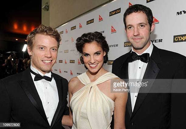 Actor Barrett Foa, actress Daniela Rua and actor Peter Cambor attends the G'Day USA 2010 Black Tie gala at the Hollywood & Highland Center on January...