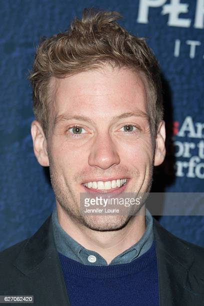 Actor Barrett Foa arrives at the Opening Night of 'Merrily We Roll Along' at the Wallis Annenberg Center for the Performing Arts on November 30 2016...