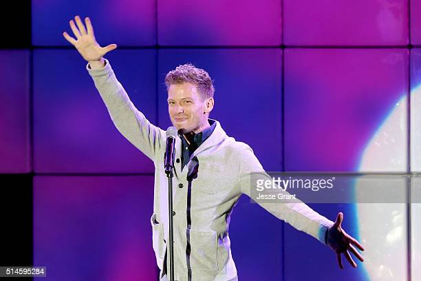 Actor Barrett Foa performs onstage during the 24th and final 'A Night at Sardi's' to benefit the Alzheimer's Association at The Beverly Hilton Hotel...
