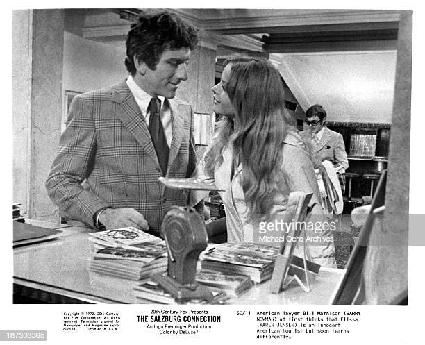 Actor Barry Newman and actress Karen Jensen on set of the 20th CenturyFox movie The Salzburg Connection in 1972