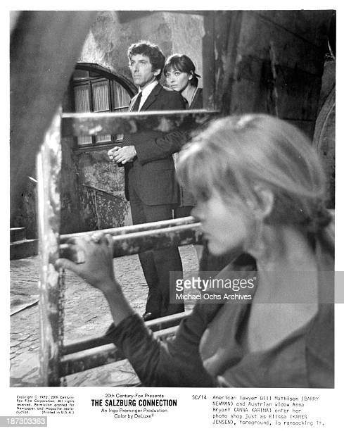 Actor Barry Newman and actresses Anna Karina and Karen Jensen on set of the 20th CenturyFox movieThe Salzburg Connection in 1972