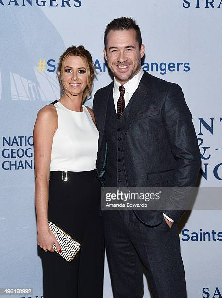 Actor Barry Sloane and Katy O'Grady arrive at the premiere of National Geographic Channel's Saints And Strangers at the Saban Theatre on November 9...