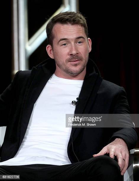 Actor Barry Sloane of the series 'Six' speaks onstage during the History portion of the 2017 Winter Television Critics Association Press Tour at the...