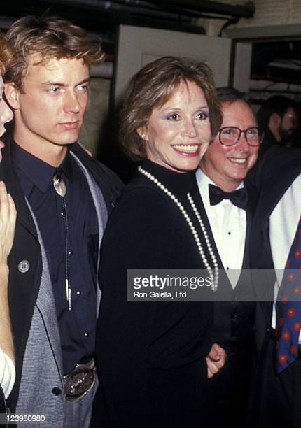 Actor Barry Tubb and actress Mary Tyler Moore backstage after Sweet Sue Opening Night Performance on January 8 1987 at the Music Box Theatre in New...
