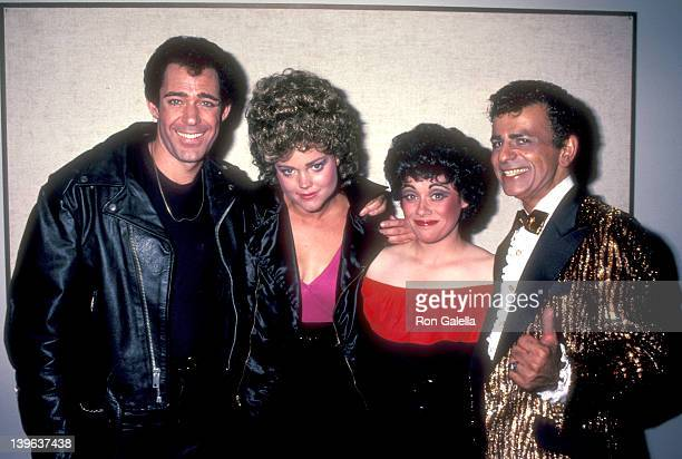 "Actor Barry Williams, musician Belinda Carlisle of The Go-Go's, actress Donna Pescow and radio personality Casey Kasem attend the ""Grease"" Opening..."