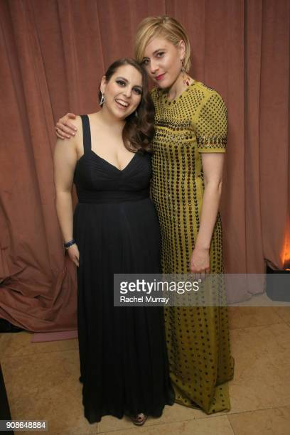 Actor Beanie Feldstein and director Greta Gerwig attend Netflix Hosts The SAG After Party At The Sunset Tower Hotel on January 21 2018 in West...
