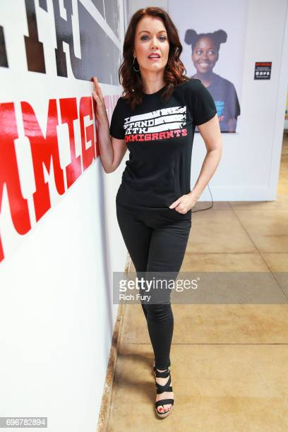 Actor Bellamy Young attends the I Am An Immigrant Los Angeles PopUp on June 16 2017 in Los Angeles California