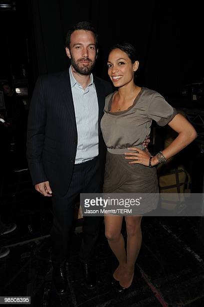Actor Ben Affleck and actress Rosario Dawson pose backstage at the Children Mending Hearts 3rd Annual Peace Please Gala held at The Music Box at the...