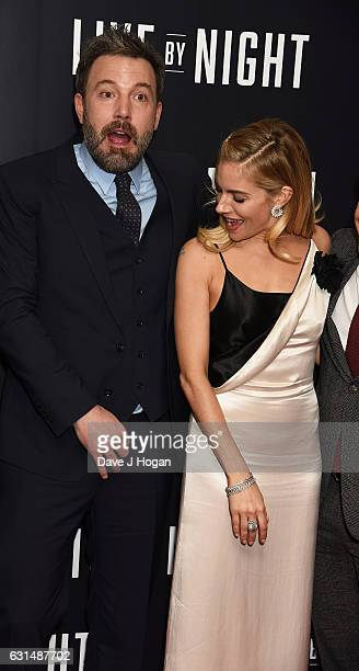 Actor Ben Affleck and Actress Sienna Miller attend the premiere of 'Live By Night' at BFI Southbank on January 11 2017 in London England