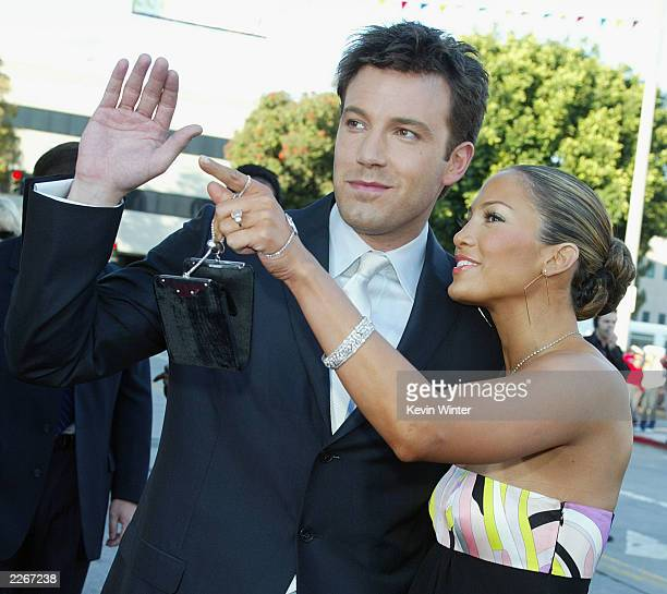 Actor Ben Affleck and his fiance actress/singer Jennifer Lopez arrive at the premiere of 'Daredevil' at the Village Theatre on February 9 2003 in Los...