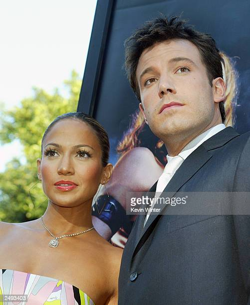 Actor Ben Affleck and his fiance actress/singer Jennifer Lopez arrive at the premiere of Daredevil at the Village Theatre on February 9 2003 in Los...