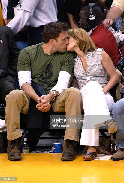 Actor Ben Affleck and his fiance actress/singer Jennifer Lopez attend the Los Angeles Lakers v. San Antonio Spurs playoff game at the Staples Center...