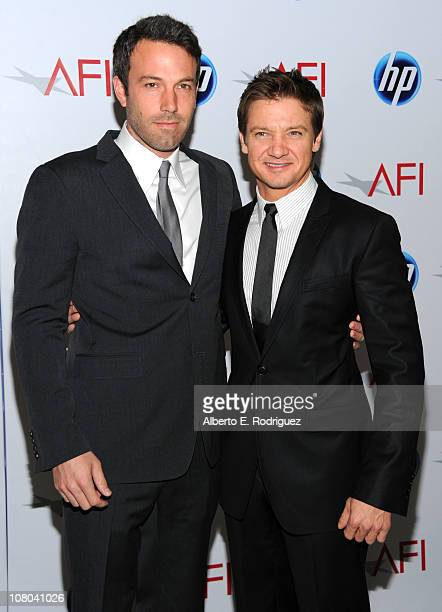 Actor Ben Affleck and Jeremy Renner attend the Eleventh Annual AFI Awards at the Four Seasons Hotel on January 14 2011 in Los Angeles California