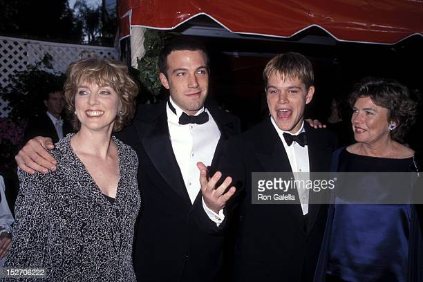 Actor Ben Affleck and mother Chris Boldt and actor Matt Damon and mother Nancy Carlsson-Paige attend the 70th Annual Academy Awards on March 23, 1998...
