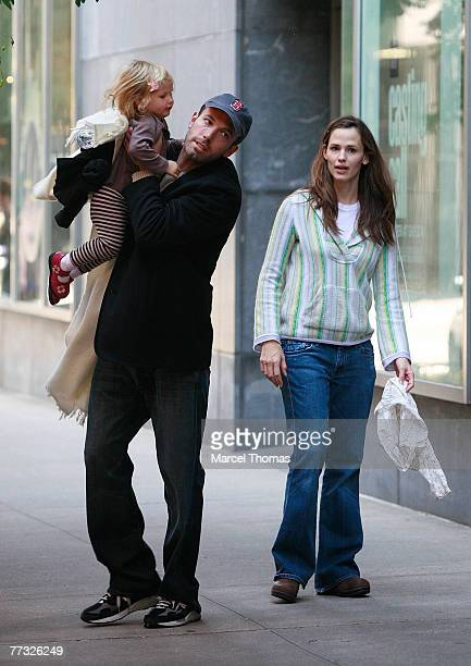 Actor Ben Affleck and wife actress Jennifer Garner sighting walking with daughter Violet on Octoner 13 2007 in New York City NY