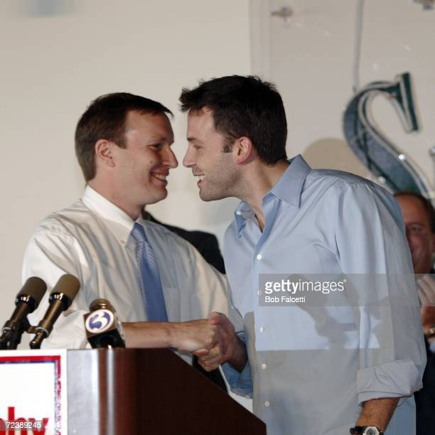 Actor Ben Affleck greets Democratic U.S. Congress candidate Chris Murphy as he visits the campus of Central Connecticut State University to campaign...