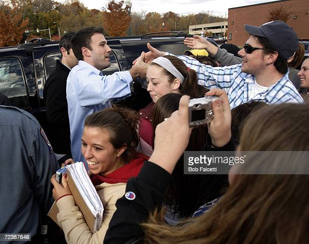 Actor Ben Affleck greets fans as he visits the campus of Central Connecticut State University to campaign for Democratic U.S. Congress candidate...