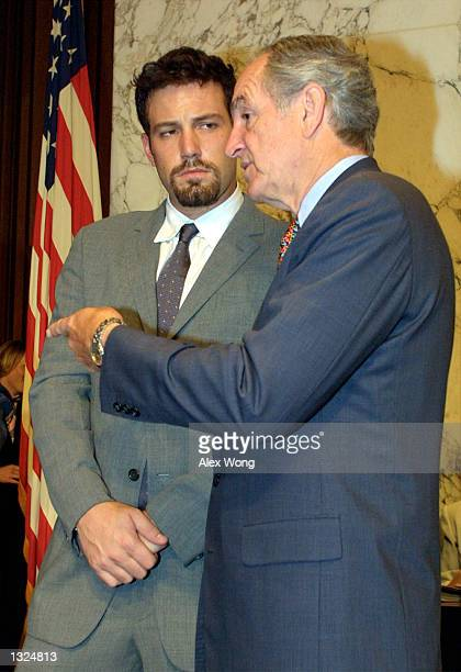 Actor Ben Affleck left talks with Sen Tom Harkin prior to a Senate Appropriations LaborHealth and Human Services Subcommittee hearing July 11 2001 on...