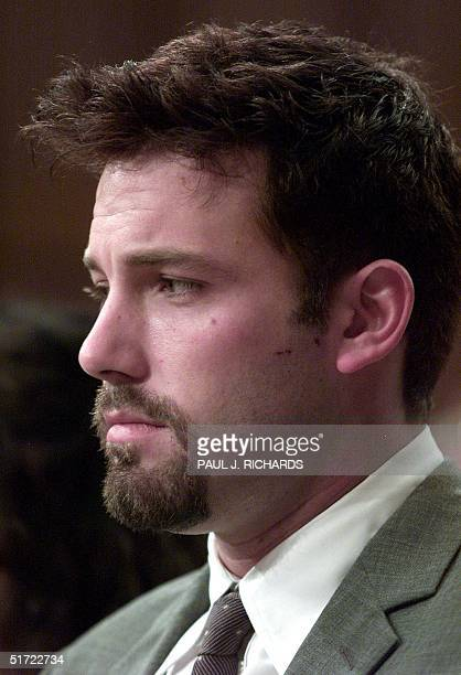 US actor Ben Affleck listens during talks on Capitol Hill 11 July 2001 in WashingtonDC during a hearing on human genome research Affleck urged...
