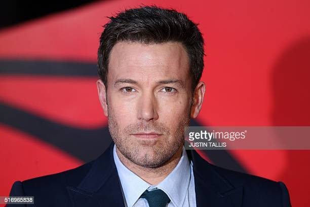 US actor Ben Affleck poses for a photograph after arriving to attend the European Premiere of the film 'Batman v Superman Dawn of Justice' in central...