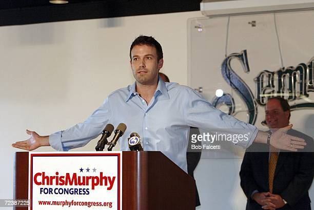 Actor Ben Affleck speaks at the campus of Central Connecticut State University to campaign for Democratic U.S. Congress candidate Chris Murphy...