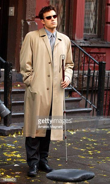 Actor Ben Affleck stands in costume on the set of 'Daredevil' November 15 2002 in New York City