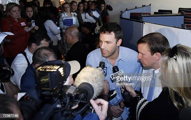 Actor Ben Affleck talks to the media as he visits the campus of Central Connecticut State University to campaign for Democratic U.S. Congress...