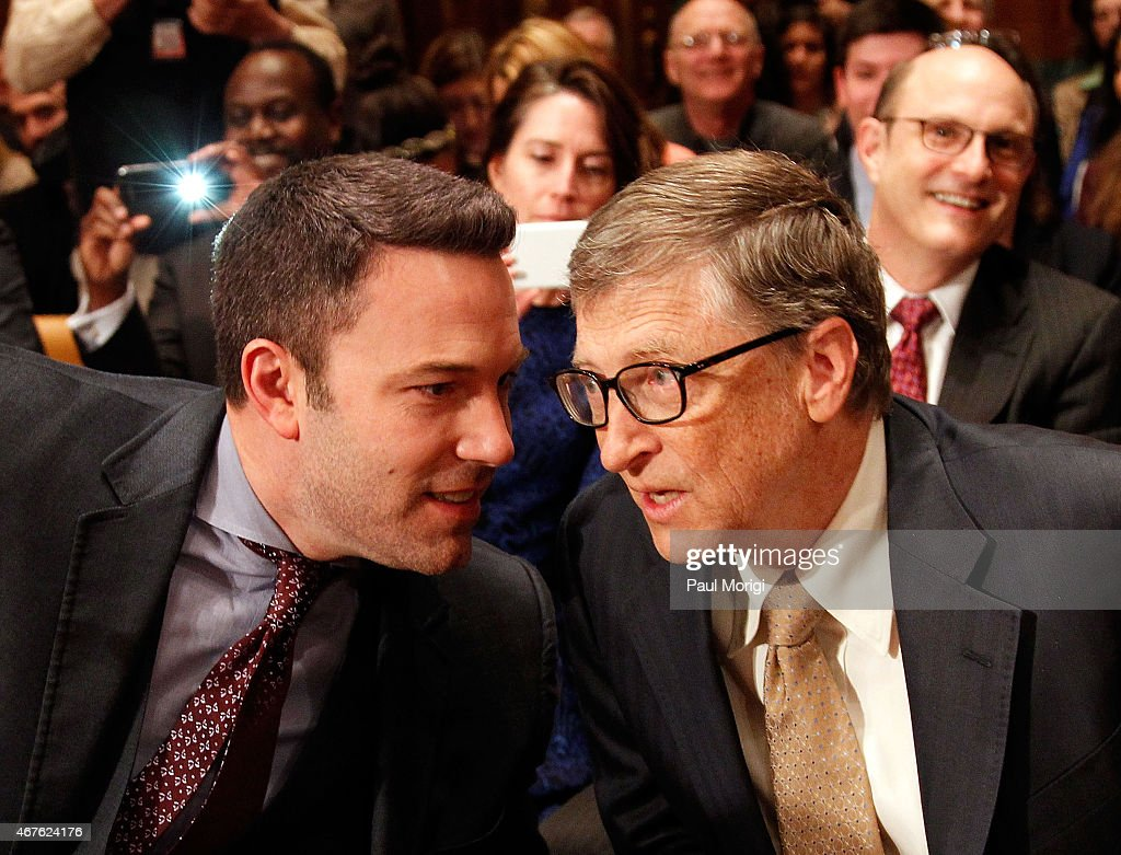 Actor Ben Affleck (L) talks with Bill Gates, co-chair of the Bill & Melinda Gates Foundation, before they testify before a Senate Appropriations State, Foreign Operations, and Related Programs Subcommittee hearing on 'Diplomacy, Development, and National Security' on Capitol Hill in Washington March 26, 2015.