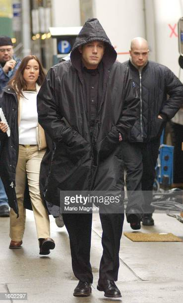 Actor Ben Affleck walks on the set of his new movie 'Jersey Girl' in the early morning of November 6 2002 in New York City