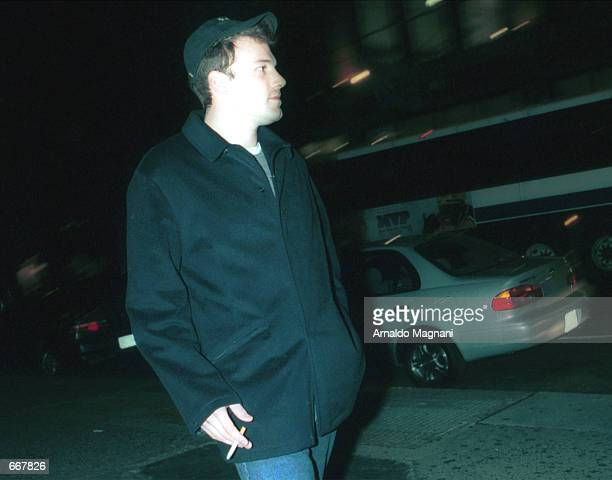 Actor Ben Affleck walks up Broadway October 28 2000 on his way to Lucky Numbers at the Loew's movie theater in New York City Designer Shoshanna...