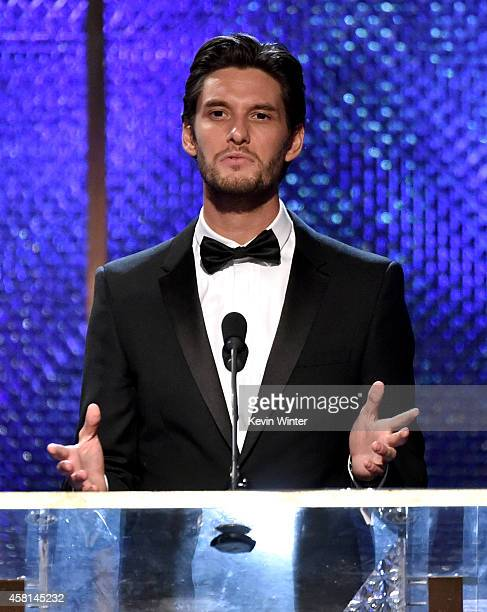 Actor Ben Barnes wearing Burberry speaks onstage during the BAFTA Los Angeles Jaguar Britannia Awards presented by BBC America and United Airlines at...