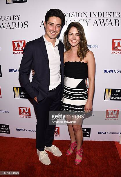 Actor Ben Feldman and actress Melissa Mulitz arrive at the Television Industry Advocacy Awards at the Sunset Tower Hotel on September 16 2016 in West...