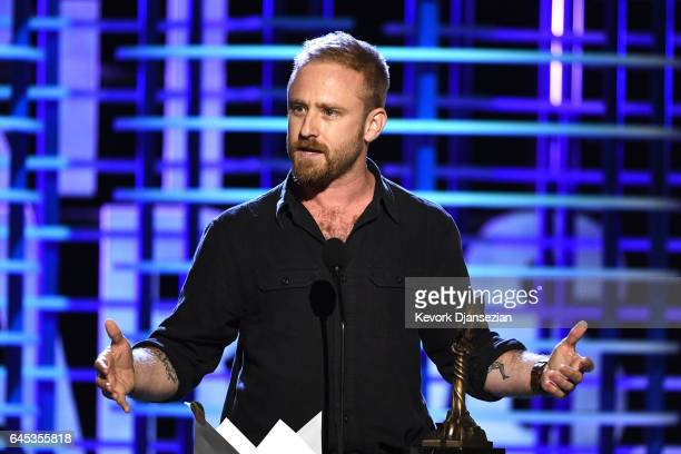 Actor Ben Foster accepts the Best Supporting Male award for 'Hell or High Water' onstage during the 2017 Film Independent Spirit Awards at the Santa...