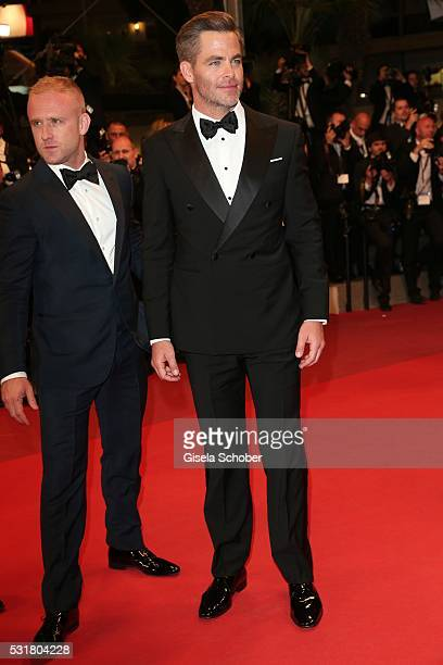 Actor Ben Foster and actor Chris Pine attend the Hands Of Stone premiere during the 69th annual Cannes Film Festival at the Palais des Festivals on...