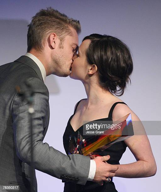 Actor Ben Foster and actress Ellen Page on stage at the 7th annual Hollywood Life Breakthrough of the Year Awards at the Music Box at the Fonda on...