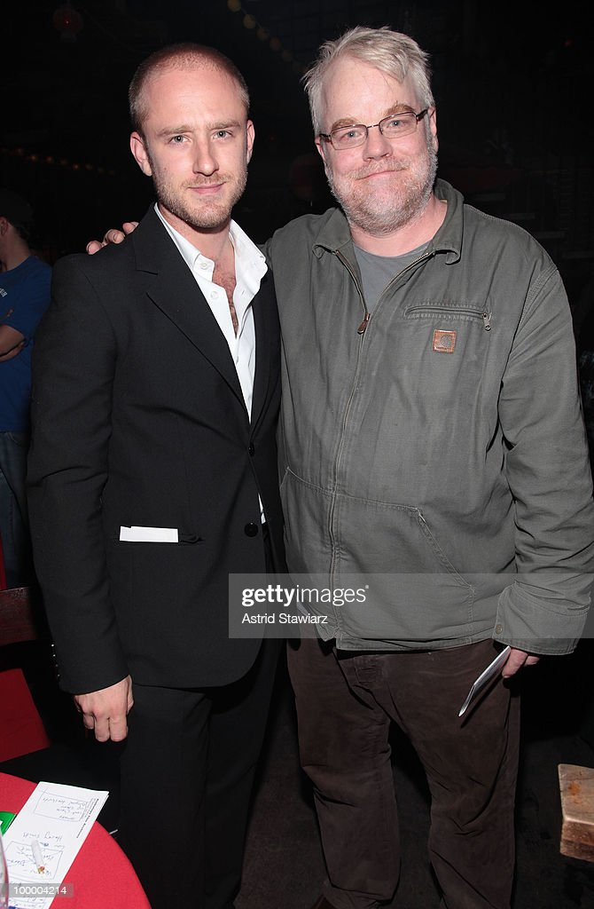 Actor Ben Foster and Philip Seymour Hoffman attend Anthology Film Archives 40th Anniversary 'Return to the Pleasure Dome' celebration at the Hiro Ballroom at The Maritime Hotel on May 19, 2010 in New York City.