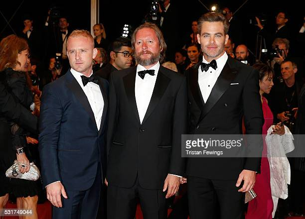 Actor Ben Foster director David MacKenzie and actor Chris Pine attend the Hands Of Stone premiere during the 69th annual Cannes Film Festival at the...
