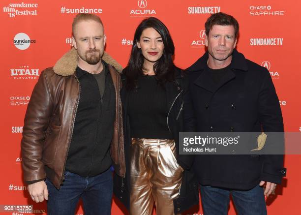 Actor Ben Foster Nicole Sheridan and Director Taylor Sheridan attend the 'Leave No Trace' Premiere during the 2018 Sundance Film Festival at Eccles...