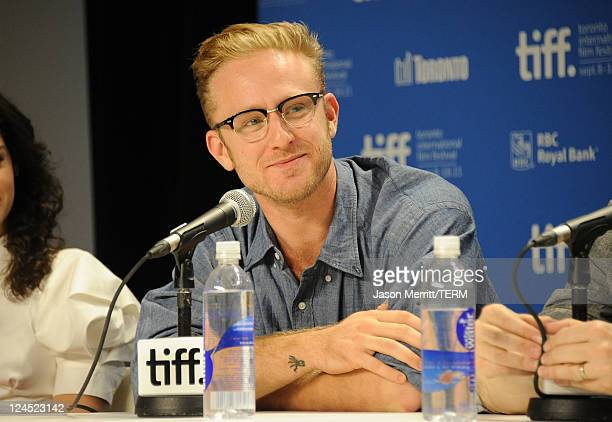 Actor Ben Foster speaks onstage at 360 press conference during the 2011 Toronto International Film Festival at TIFF Bell Lightbox on September 10...