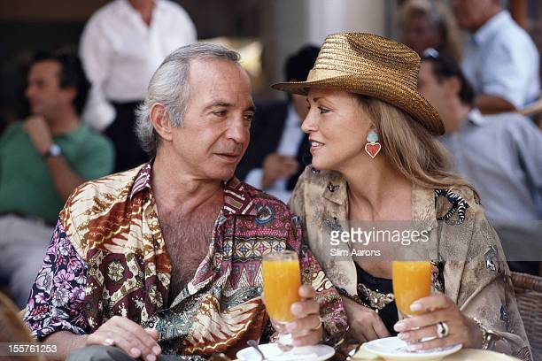 US actor Ben Gazzara and his wife Elke relxing with a drink on the island of Capri Italy in September 1989