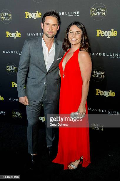 Actor Ben Hollingsworth and Designer Nila Myers arrive at the People's Ones To Watch party at EP LP on October 13 2016 in West Hollywood California