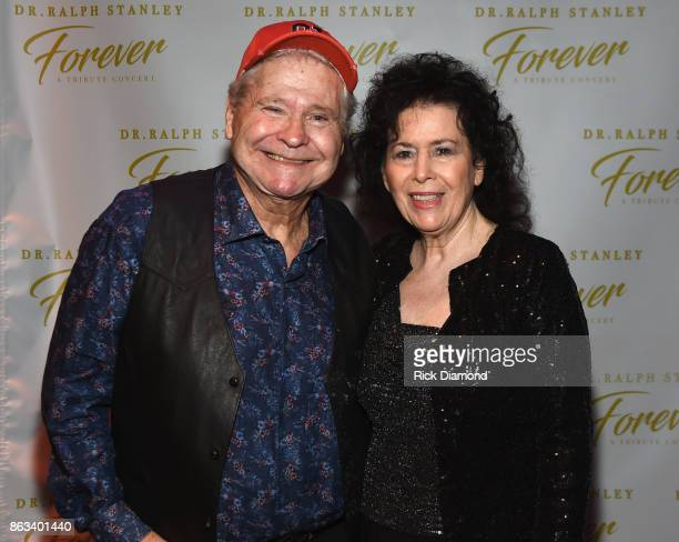 Actor Ben Jones aka Cooter in TV's Dukes of Hazzard and Mrs Jimmi Stanley backstage during Dr Ralph Stanley Forever A Special Tribute Concert at...