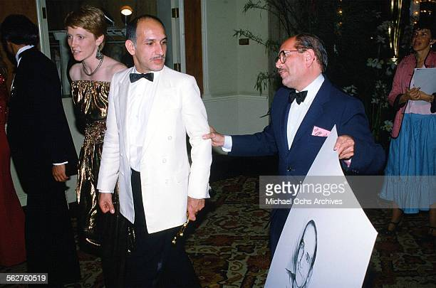 Actor Ben Kingsley and Alison Sutcliffe celebrate after winning Best Actor award during the 55th Academy Awards at Dorothy Chandler Pavilion in Los...