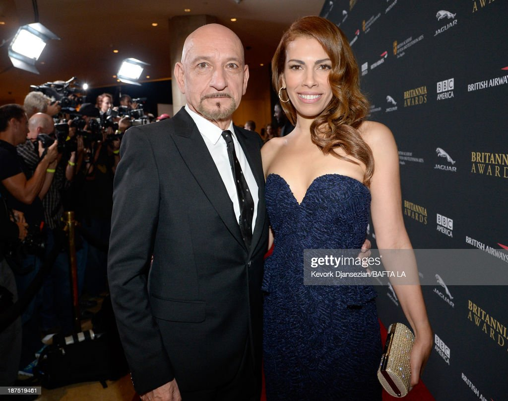 Actor Ben Kingsley and wife Daniela Lavender attend the 2013 BAFTA LA Jaguar Britannia Awards presented by BBC America at The Beverly Hilton Hotel on November 9, 2013 in Beverly Hills, California.