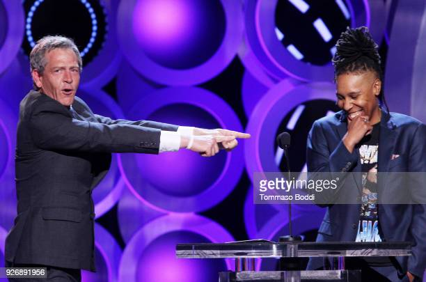 Actor Ben Mendelsohn and actor/writer Lena Waithe speak onstage during the 2018 Film Independent Spirit Awards on March 3 2018 in Santa Monica...